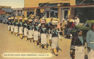 ZUNI POTTERY MAIDS Indian Ceremonial, Gallup, NM Native American c1940s Postcard