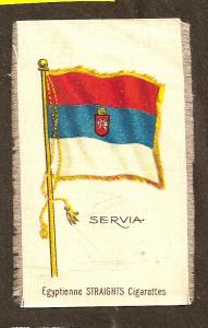 TURN OF CENTURY CIGARETTE SILK -SERVIA (SERBIA) FLAG