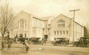 Automobiles ME Church Eugene Oregon 1913 RPPC Photo Postcard Patton 20-500