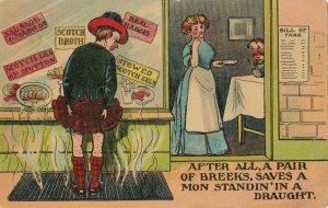 Comic , Scotland, 1900-10s ; Draft lifts man's Kilt