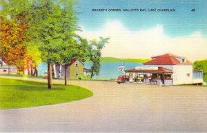 Mallett's Bay VT Lake Champlain Nourse's Corner Hot Dog Stand Linen Roadside NOS