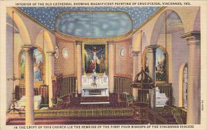 Interior Of Old Cathedral Showing Painting Of Crucifixion Vincennes Indiana C...