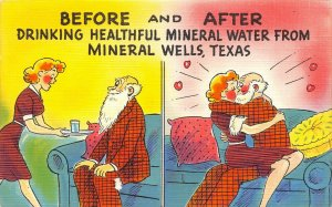 USA Linen c1940s Postcard Before & After Drinking Healthful Mineral Water Texas
