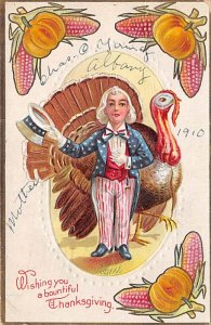 Uncle Sam Thanksgiving Greetings USA 1910
