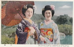 KYOTO , Japan , 40-50s; The Maiko have a special Coiffure & Dress Style