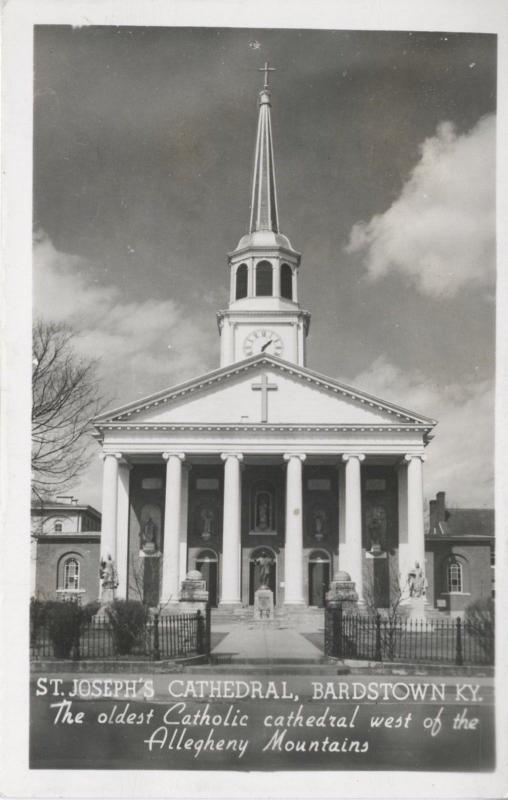 Bardstown KY Kentucky, St.Joseph's Cathedral Catholic Church Real Photo Postcard