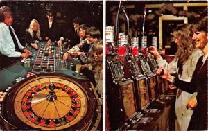 Las Vegas Nevada 1970s Postcard Gambling Slot Machines Roulette Wheel