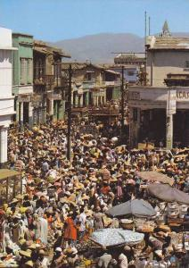 HAITI ; 60-80s ; Port-au-Prince: Market in streets