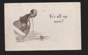 Comic Postcard - Man In Boat Throwing Up - Used