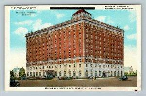St Louis MO-Missouri, The Coronado Hotel, Automobiles, Vintage Postcard