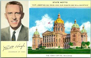 1950s Des Moines, Iowa Postcard GOVERNOR LEO HOUGH w/ State Capitol View Unused