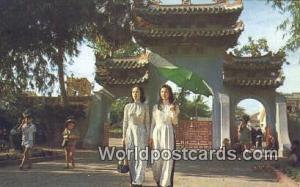 Vietnam, Viet Nam,  Nhân Vật Le Van Duyet Memorial Two Young Ladies, Le Va...