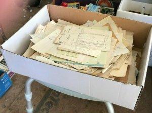 BOX OF EPHEMERA-100's OF BILLHEADS-1920-1930s-WVA-OH-PA-MD-NY FREE SHIPPING