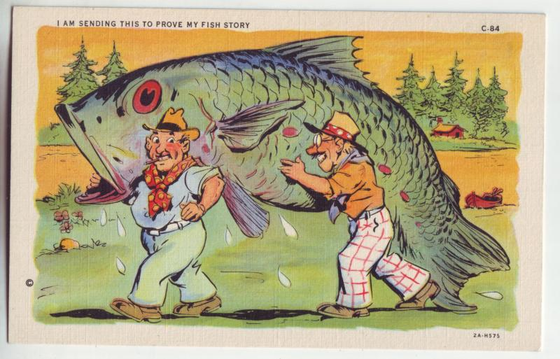 P918 vintage comic fishing-i,am sending this to prove my fish story