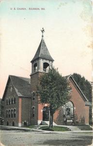 Bourbon Indiana~United Brethren Church~Fellas Under Window~1910 Postcard