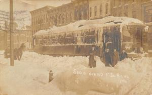 South Bend IN~Snow Bound Trolley 75~Horse Sleigh~Businessmen Go Nowhere~'09 RPPC