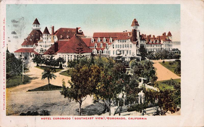 Hotel Coronado, Southeast View, Coronado, California, Early Postcard, Used