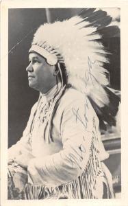 D80/ Native American Indian Chief Ho-Ton-Ga RPPC Postcard 40s Autograph 32