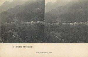 Postcard France stereographic image Saint Sauveur panorama