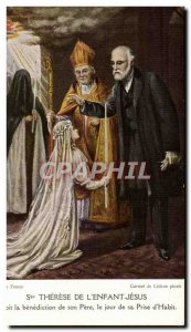 Postcard Old St Therese of & # 39enfant Jesus receives the blessing of his Fa...