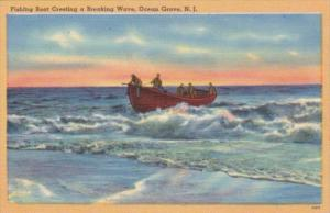 New Jersey Ocean Grove Fishing Boat Cresting A Breaking Wave 1949