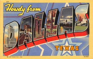 Dallas Texas~Large Letter Linen Postcard~Night Lights Downtown~Art Deco Star~'42