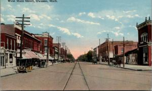 Owosso Michigan~West Main Street~Meat Market~Bakery~Vintage Car~Horse Buggy~1910