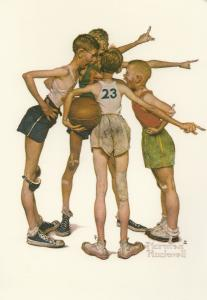 Basketball Team Norman Rockwell Artist Painting Postcard