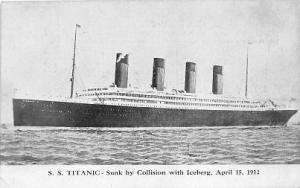 Titanic Ship Postcard Postcards Titanic Ship Postcard Post Card Sunk By Colli...
