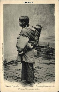 Vietnam Native Woman & Child Sino-Annamite Femme Tho Publ in Hanoi c1900