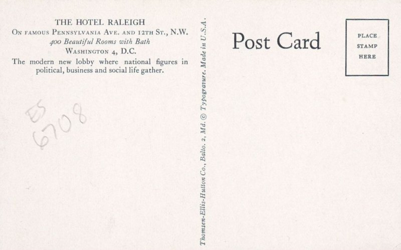 WASHINGTON, D.C., 1950-60s : Hotel Raleigh , New Lobby