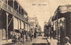 Egypt Suez Rue Colmar Street Horses Postcard
