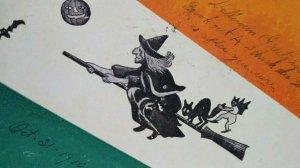 Halloween Postcard Annin & Co 1905 Flying Witch Cat Goblin On Board Rare Boston
