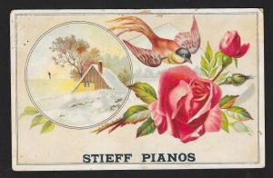 VICTORIAN TRADE CARD Stieff Pianos Roses & Bird
