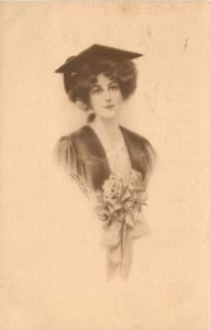 Accomplished Lady Graduate In Cap & Gown~Rose Bouquet~J Knowles Hare Jr~1911