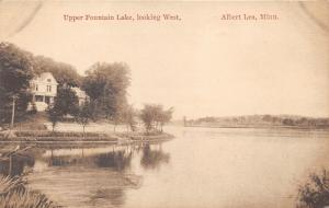 Albert Lea Minnesota~Upper Fountain Lake Looking West~House by Trees~c1910 Pc