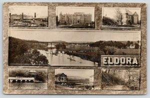 Eldora Iowa~Tile Factory~Bridge Panorama~Boat & Green Houses~Glen~1921 RPPC