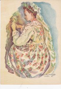 AS: Profile of woman kneeling looking at flower, wearing bonnet, Maria Wasowi...