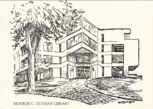 AS: Monroe C. Gutman Library, Sketch Drawing, 50-70s