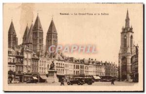 Old Postcard Tournai Grand Place and the Belfry