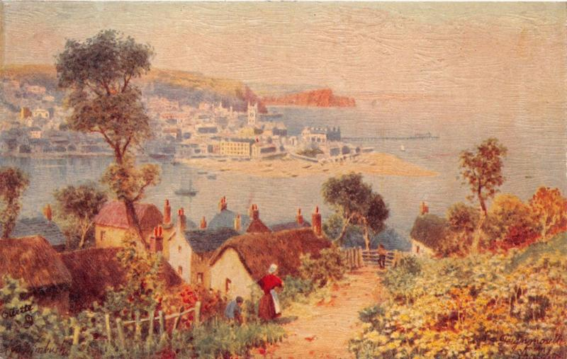 TEIGNMOUTH DEVON UK~AS VIEWED FROM SHALDOM~ARTIST H B WIMBUSH TUCK POSTCARD