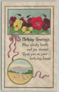 Flowers Greetings~Bright Yellow and Red Pansies~Ribbon~Sand~c1910 Postcard