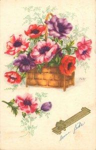 Postcard Greetings flowers bouquet basket