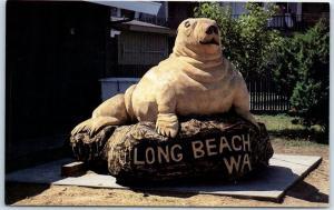 Long Beach, Washington Postcard HARBOR SEAL Statue Monument c1970s Unused