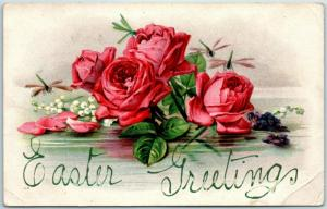 Vintage EASTER GREETINGS Embossed Holiday Postcard Red Roses c1910s UNUSED
