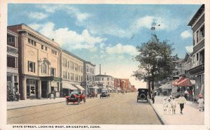 State Street, Looking West, Bridgeport, CT, Early Postcard, Used in 1919