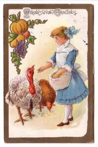 Thanksgiving Young Girl Feeding Turkeys Nicely Embossed, Upper La Have Nova S...
