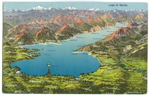 Italy, Lago di Garda, Map, early 1900s unused Postcard
