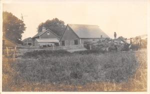 Danube Minnesota~Farmers on Hay Rack~Thresher~Barns~Horses~Windvane~1915 RPPC