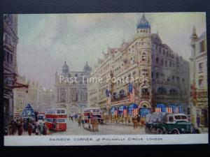 London WW2 American Flags RAINBOW CORNER PICCADILLY Churchill c1944 Raphael Tuck